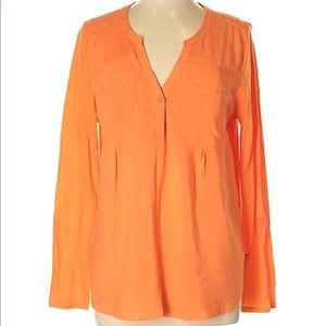 Orange Merona roll/button sleeve top, Large